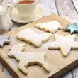 Christmas shapes shortbread cookies with cup of tea — Foto Stock