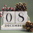 Save the date shabby chic white calendar for individual days in December — Zdjęcie stockowe