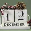Save the date shabby chic white calendar for individual days in December — Photo