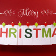 Merry Christmas greeting  bunting hanging from pegs on a line — Stock Photo