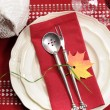 Red and white theme festive table setting with turkey tureen for Thanksgiving or Christmas lunch dinner meal — Стоковая фотография