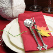 Red and white theme festive table setting with turkey tureen for Thanksgiving or Christmas lunch dinner meal — Stock Photo