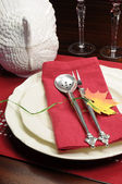 Red and white theme festive table setting with turkey tureen for Thanksgiving or Christmas lunch dinner meal — Photo