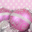 Beautiful pink Merry Christmas decoration ornaments — Stock Photo