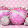 Stock Photo: Beautiful pink Merry Christmas decoration ornaments