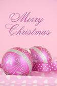 Красивые розовые веселые рождественские украшения орнаменты — Стоковое фото