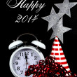 Happy New Year, 2014, message greeting New Years Eve party decorations and vintage retro white clock against a black background. — 图库照片