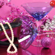 Pink theme News Years Eve party  — Stock Photo