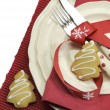 Festive dining table place setting with copy space for your text here. — Стоковая фотография