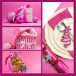 Pink Christmas theme collage — Foto Stock