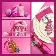 Pink Christmas theme collage — Stock Photo