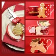 Stock Photo: Red Merry Christmas collage of shortbread and gingerbread cookies