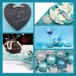 Aqua blue theme Merry Christmas collage — Stock Photo
