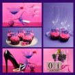 Pink and purple theme Happy New Year collage with party theme — Stock Photo