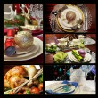 Festive Christmas formal dining table setting collage — Stock Photo