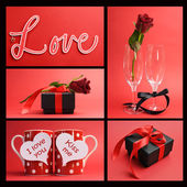 Valentines Day or love theme collage of five images — Stock Photo