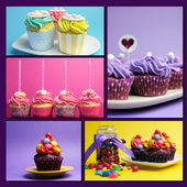 Colorful collage of bright color cupcakes — Stock Photo