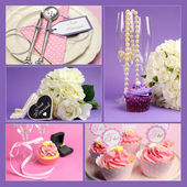 Wedding collage of five images with pink and purple theme — Stock Photo