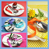 Colorful collage of beautiful dining table place settings — Stock Photo