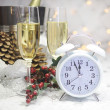 Happy New Year table with retro white clock and champagne — Zdjęcie stockowe #37458539