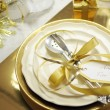 White and gold theme elegant Happy New Year table setting — Stock Photo #37458677