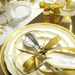 White and gold theme elegant Happy New Year table setting — Stock Photo #37458773