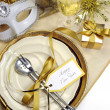 White and gold theme elegant Happy New Year table setting — Stock Photo #37458949
