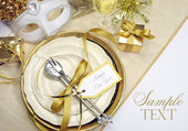 White and gold theme elegant Happy New Year table setting — ストック写真