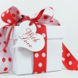 Red and white polkdot gift — Stock Photo #38020583