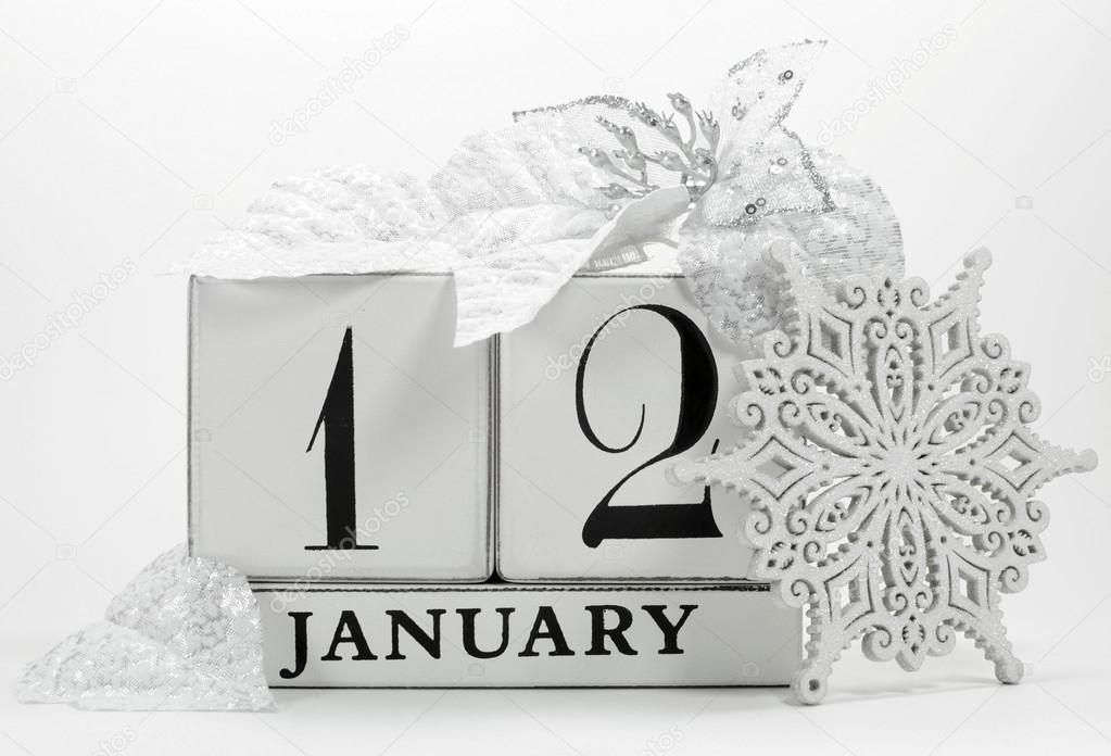 Save The Date Vintage Shabby Chic Calendar For January 12
