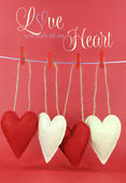 Love greeting and hearts hanging from pegs on a line — Stock Photo