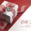 Red and white check gift for Valentine, Christmas, Mothers Day or birthday present. — Stok fotoğraf