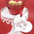 Red velvet cupcakes for Valentines Day or love theme holidays or birthdays — Stock Photo #38938659