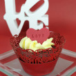 Red velvet cupcakes for Valentines Day or love theme holidays or birthdays — Stock Photo #38938711