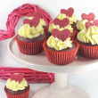 Red velvet cupcakes for Valentines Day or love theme holidays or birthdays — Stock Photo #38938715