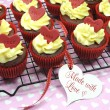 Red velvet cupcakes for Valentines Day or love theme holidays or birthdays — Stock Photo #38938987