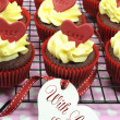 Red velvet cupcakes for Valentines Day or love theme holidays or birthdays — Stock Photo #38939003