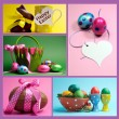 Bright colorful Easter collage of five images. — Stock Photo