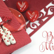 Valentine or love theme dining table place setting with copy space or text. — Stock Photo #39812771