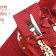 Foto Stock: Valentine or love theme dining table place setting with copy space or text.