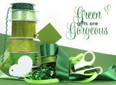 Bright colorful green theme gift wrapping — Stock Photo