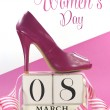 International Women's Day, March 8, vintage calendar and pink high heel shoe. — Stock Photo #40315515