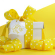 Bright color yellow theme gift box and ribbons & wrapping. — Stock Photo