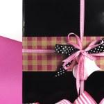 Modern theme pink and black Valentine or birthday gift box — Stock Photo