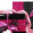 Modern theme pink and black Valentine or birthday gift box — Stock Photo #40495085