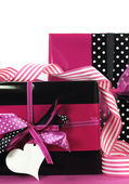Modern theme pink and black Valentine or birthday gift box — Stock Photo