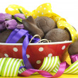 Постер, плакат: Happy Easter chocolate eggs and bunny rabbits hamper