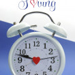Foto de Stock  : Vintage style white clock with Daylight Saving sample text