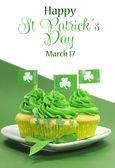 Happy st. patrick's day-muffins — Stockfoto