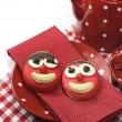 Постер, плакат: Handmade by children happy face candy cookie with red polka dot tea or coffee